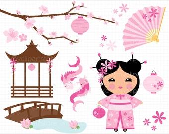 Clipart - Kokeshi Doll / Lotus Flower Princess / Japanese / Chinese Princess - Digital Clip Art (Instant Download)