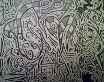 Digital Version of Black and White Abstract Pencil Design
