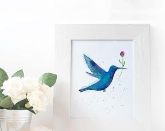 Printable Blue Hummingbird Watercolor, laminated instant download.