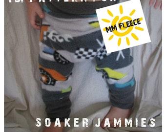 PDF Pattern // Soaker Jammies // Diaper Cover Pattern // Fleece Longies Pattern // Fleece Diaper Cover // Wool Longies Pattern, Sizes 1-6