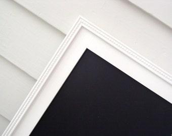 Chalkboard Organization - Magnetic Framed Chalk Board 17.5 x 33 for Office, Wedding, Kids, Restaurant Menu Sign w/ Handmade White Wood Frame