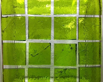 "1"" WARBLED LIME COOLADA Stained Glass Mosaic Supply"