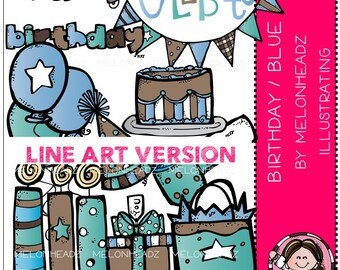 Birthday clip art (blue/pink) - LINE ART