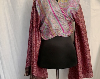 Vintage Boho Mixed Prints Silk Wrap Top with Amazing Sleeves