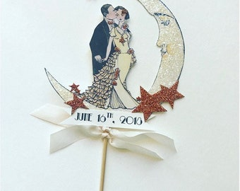Wedding Cake Topper -Personalized-Crescent Moon - Bride and Groom - Art Deco -Rose Gold Glitter Stars