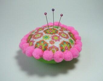 Pincushion, wearing pins round felt and pom-poms, pink, green, white, 10 cm.