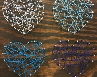 12''x12'' 4 Blue Hearts String Art