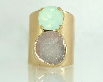 Druzy Cocktail Ring, Statement Ring, Double Stones Ring, Gemstone Ring, Mint & Grey Mineral Ring,  24K Gold Adjustable Wide Band Ring.