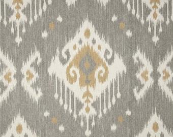 Dakota Grey cotton fabric by the yard ikat Magnolia Home Fashions