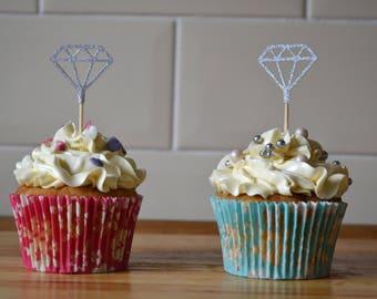 diamond cupcake topper/ silver glitter cake topper/ diamond topper/ pack of 6