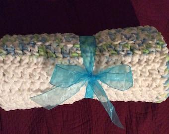 Bernat baby blanket white green blue