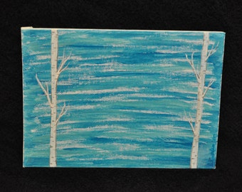 Hand Painted  Birch Trees with Blue Sky
