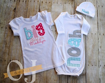 Big Sister - Little Brother - Personalized Baby Boy Newborn Gift Set- Pink, Aqua/Teal and Gray - Infant Gown and Hat