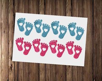 15 baby feet stickers, baby shower envelope seals, gender reveal party decor, new baby decals, envelope seals,  1st birthday decoration