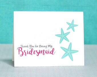 RESERVED Starfish Bridesmaid Card | Beach Wedding Thank You Card |Bridesmaid Thank You Card | Maid of Honor Card | Matron of Honor Card