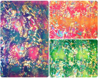 Shiny Rainbow Foil Abstract Pattern on Bright Crease Stretch Nylon Spandex Fabric - 58 to 60 Inches Wide - By the Yard or Bulk