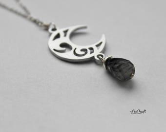 LUNA DUE long necklace with moon pendant