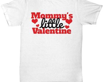 Mommy's Little Valentine Mother Mum V-day Heart Love T Shirt White