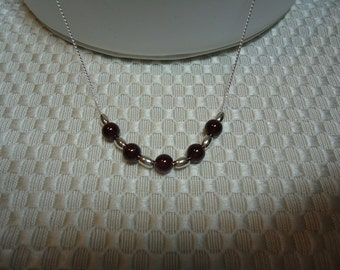 Garnet and Sterling Silver Necklace  1807