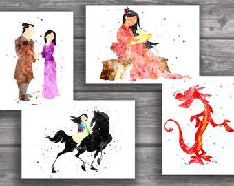 Mulan art print,Mulan disney, watercolor poster, Art Print, instant download, Watercolor Decor