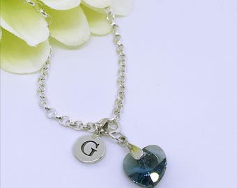 Personalised sterling silver bracelet with Swarovski crystal heart, sterling silver bracelet, swarovski heart, sterling silver initial charm