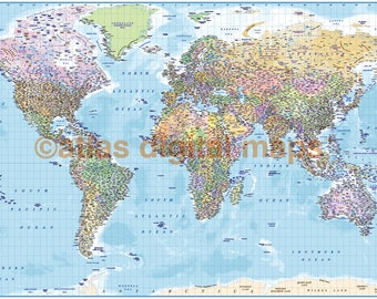 Ocean floor map etsy political map of the world map print political world map with ocean floor gumiabroncs Image collections