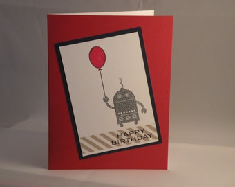 Hand Stamped Robot Birthday Card in Red and Silver