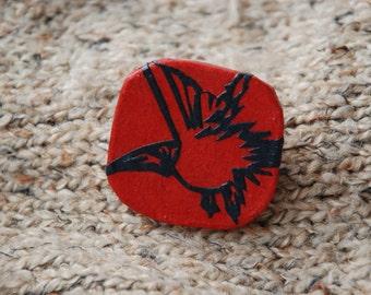 Red Brooch Hanji Paper Pin OOAK Dress Clip Bird Design Red Navy  Stainless Steel Pin Handmade