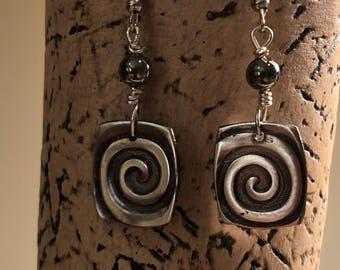 Silver Swirl Square Earrings