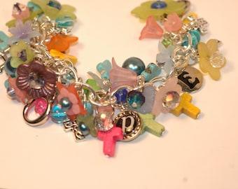 Spring Charm Bracelet, cross charm bracelet , Hope Charm bracelet, Cluster Bracelet