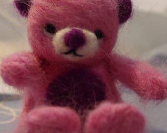Pink felted wool bear, miniature bear, bear figurine