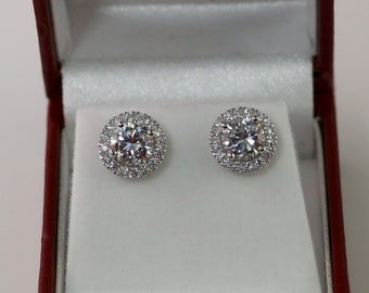 2 Carat Round Halo earrings, Sterling Silver, Halo Bridal studs, Bridesmaid earrings, Wedding, Silver CZ studs, cubic zirconia studs,