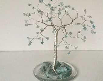 March birthstone gemstone tree. Large Aquamarine silver plated wire sculpture. Blue tree of life ornament. Birthstone Gift