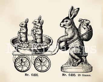 Vintage Easter rubber stamp / Hare with pram - unmounted rubber stamp or cling stamp (180307)