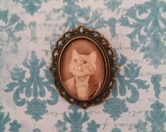 Handsome Orange Kitty In Victorian Clothes, Cat Portrait set in Cameo Pin. Buy a Cat, Feed a Stray Cat!