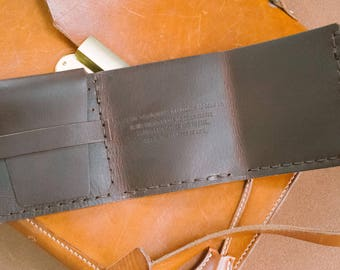 personalized walter mitty wallet, Italian leather, custom made, hand stitched, handmade