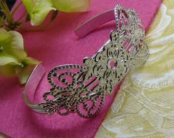 CB-04-01-Si 2pcs Silver Plated Brass Filigree Cuff Bracelet, Nickel Free
