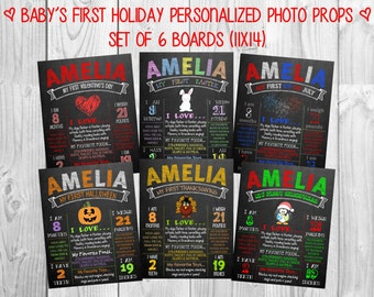 Printable Baby's First Holiday Chalkboard Photo Prop Signs | 6 Holidays | Size: 11x14 | *Digital Files* | by MMasonDesigns