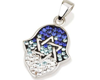 Hamsa Silver Pendant With Blue Gemstones + 925 Sterling Silver Chain #6