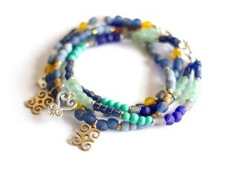 SARA: Blue Turquoise African Anklet, Ghanaian Recycled Glass, Sankofa Jewelry, Ethiopian Silver, Indonesian Glass, Foot Jewelry, Tribal Chic