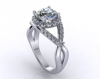 Diamond  moissanite engagement ring , Style 162WDM