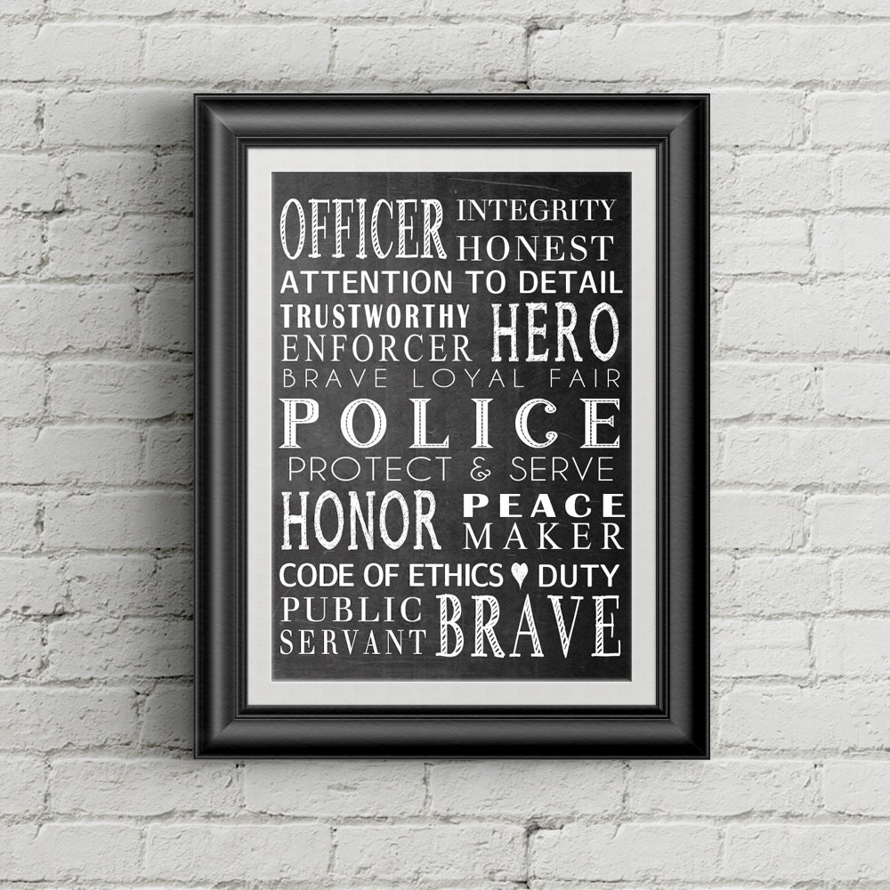 Police Officer Quotes: Police Officer Gift Law Enforcement Officer Gift Police Wall