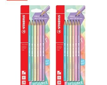 12 Stabilo Pastel Color Barrel 2B Graphite Pencil Black Lead | Study School Office | Colour Stationery