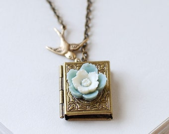 Book Locket Necklace. Antique Brass Book Locket Brass Swallow Bird Dusty Blue and White Flower Necklace. Gift for Book Lover librarian