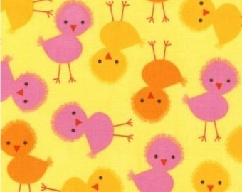 Yellow background Urban zoologie chicks patchwork fabric