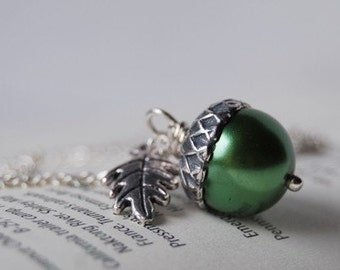 Spring and Silver Acorn Necklace | Green Pearl Acorn Necklace | Nature Charm Necklace | Woodland Jewelry