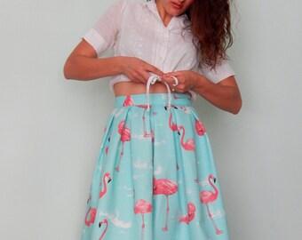 Custom made pleated flamingos full skirt, custom made 50s style circle skirt, all sizes and plus sizes