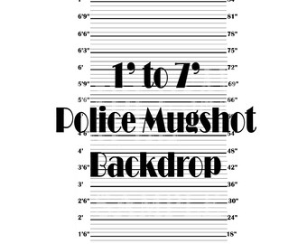 "4 X 6 Foot Child/Adult Mugshot Backdrop ~ Police Line Up Photo Booth ~ 48X72"" Roaring 20s Prohibition Speakeasy Party Wedding Selfie Station"