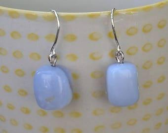 Blue chalcedony dangle earrings