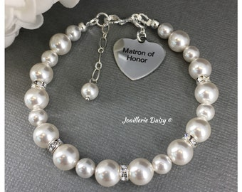 Gift for Matron of Honor Bracelet Swarovski Bracelet Wedding Jewelry Bridal Party Jewelry Charm Bracelet Gift for Her